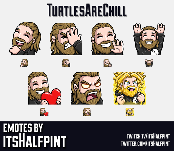 TurtlesAreChill | Twitch Emotes | Cute | Custom | Commissions | itsHalfpint