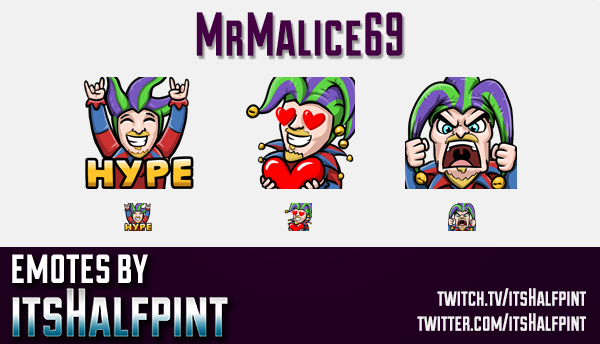 MrMalice69  | Twitch Emotes | Cute Emotes | Custom Twitch Emotes | Emote Commissions | itsHalfpint |