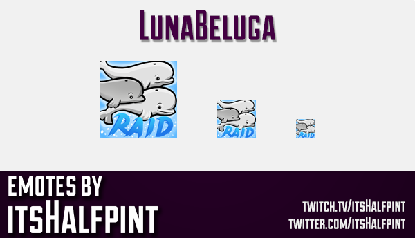 LunaBeluga  | Twitch Emotes | Cute Emotes | Custom Twitch Emotes | Emote Commissions | itsHalfpint |