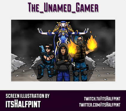The_Unamed_Gamer- itsHalfpint twitch emote artist | sub bit badge | avatar logo illustration | custom character screen