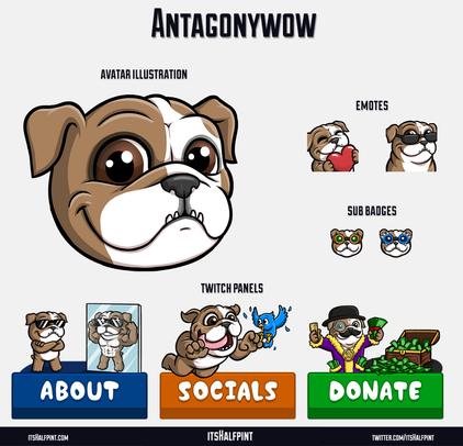 Antagonywow itsHalfpint twitch emote artist | sub bit badge | avatar logo illustration | custom cute pet bulldog
