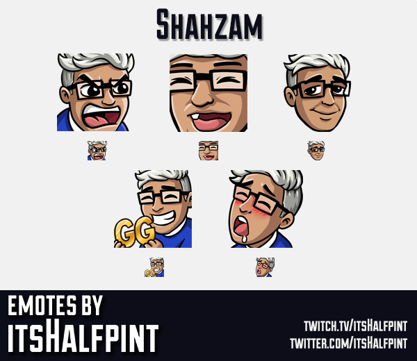 Shahzam | Twitch Emotes | Cute Emotes | Custom Twitch Emotes | Emote Commissions | itsHalfpint | Mix