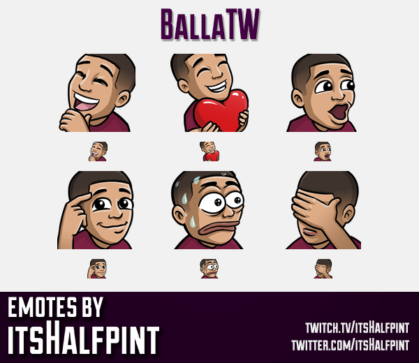 BallaTW  | Twitch Emotes | Cute Emotes | Custom Twitch Emotes | Emote Commissions | itsHalfpint | Mi