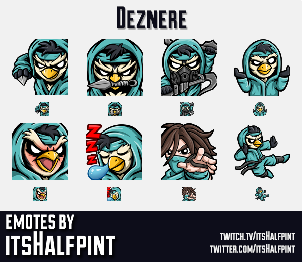 Deznere  | Twitch Emotes | Cute Emotes | Custom Twitch Emotes | Emote Commissions | itsHalfpint | Mi