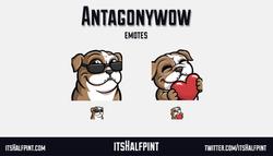 Antagonywow | itsHalfpint emote artist| Twitch Emotes | Cute | Custom | Commissions  Bulldog Dog lov
