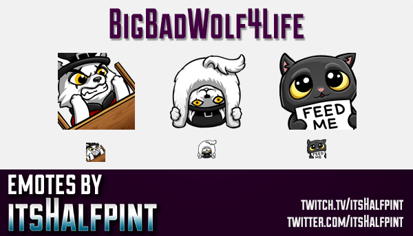 BigBadWolf4Life | Twitch Emotes | Cute Emotes | Custom Twitch Emotes | Emote Commissions | itsHalfpi