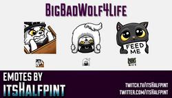 BigBadWolf4Life | Twitch Emotes | Cute Emotes | Custom Twitch Emotes | Emote Commissions | itsHalfpi
