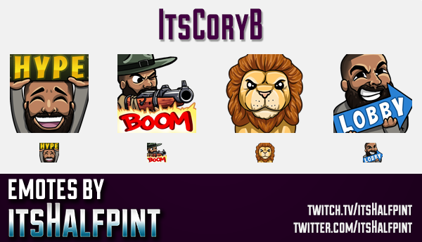 itsCoryB | Twitch Emotes | Cute Emotes | Custom Twitch Emotes | Emote Commissions | itsHalfpint | Mi