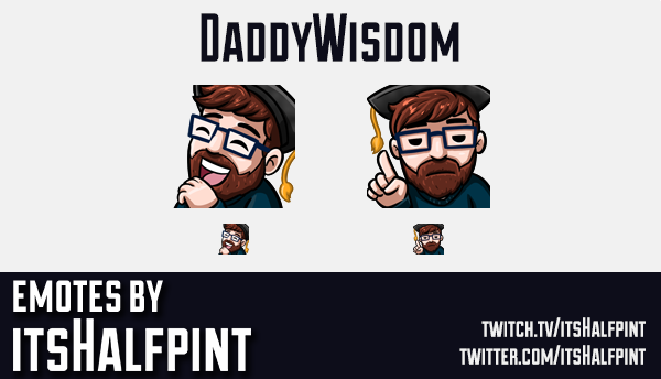 DaddyWisdom | Twitch Emotes | Cute Emotes | Custom Twitch Emotes | Emote Commissions | itsHalfpint |
