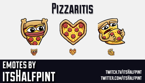 Pizzaritis | Pizza | Twitch Emotes | Cute | Custom | Commissions | itsHalfpint