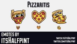 Pizzaritis | Pizza | Twitch Emotes | Cute | Custom | Commissions | itsHalfpint
