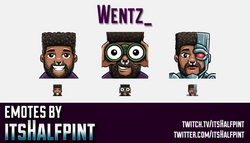 Wentz_  | Twitch Emotes | Cute Emotes | Custom Twitch Emotes | Emote Commissions | itsHalfpint | Mix