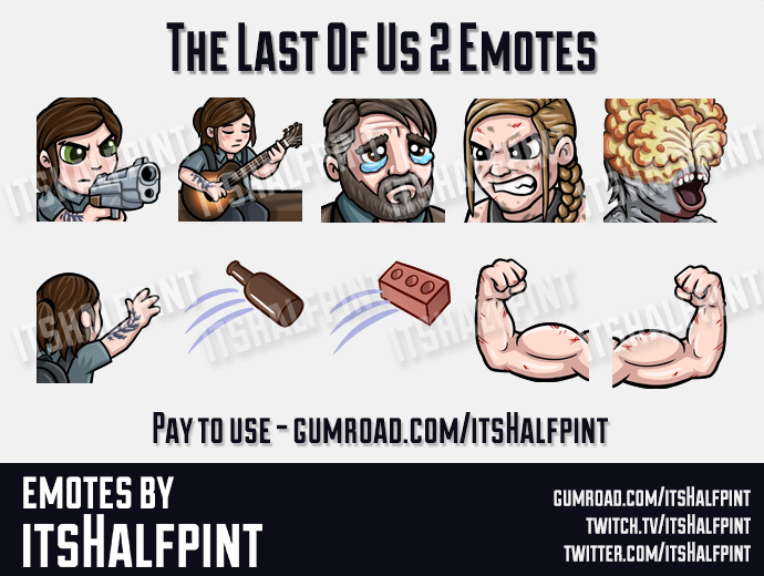 TLOU2  | Twitch Emotes | Cute | Custom | Commissions | itsHalfpint