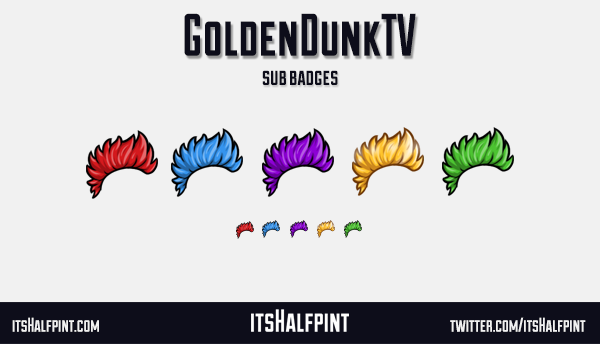 GoldenDunkTV sub badges twitch emotes mohawk funky cool