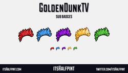 GoldenDunkTV sub badges twitch emotes mohawk funky cool