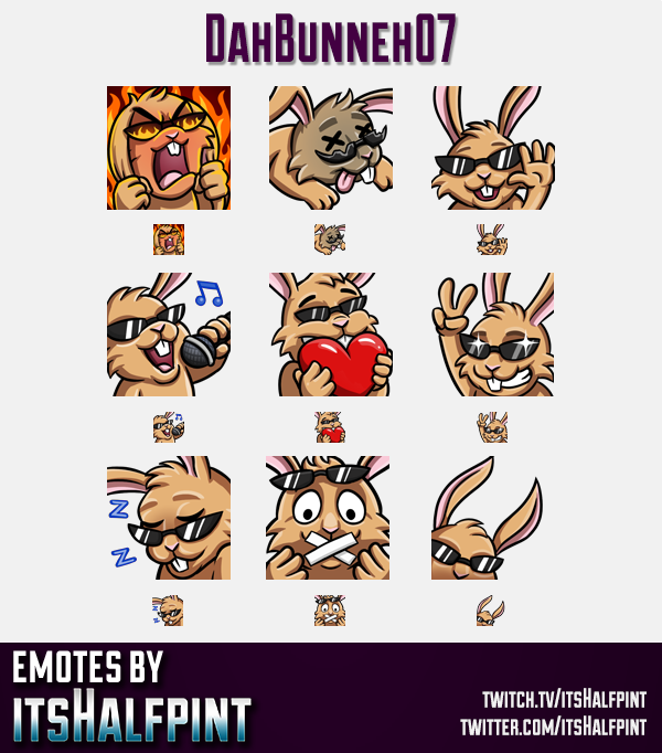 DahBunneh07 | Twitch Emotes | Cute Emotes | Custom Twitch Emotes | Emote Commissions | itsHalfpint |
