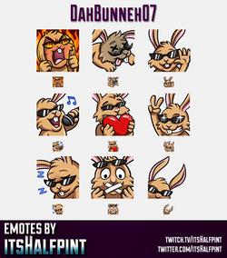 DahBunneh07 | Twitch Emotes | Cute Emotes | Custom Twitch Emotes | Emote Commissions | itsHalfpint |
