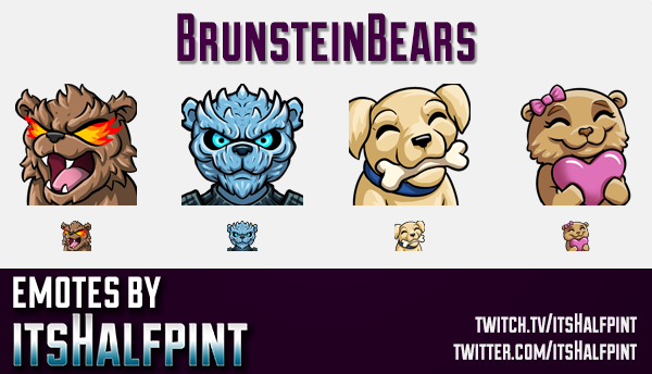 BrunsteinBears | Twitch Emotes | Cute Emotes | Custom Twitch Emotes | Emote Commissions | itsHalfpin