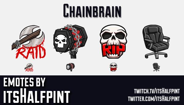 Chainbrain | Twitch Emotes | Cute Emotes | Emote Artist | itsHalfpint