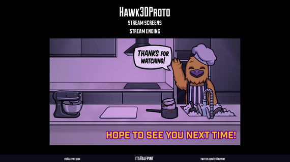 Hawk3dProto | itshalfpint Twitch Screens Animations Twitch Overlay Alerts Character illustrations