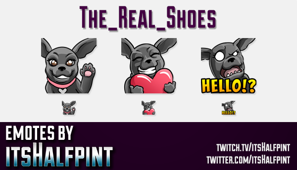 TheRealShoes  | Twitch Emotes | Cute Emotes | Custom Twitch Emotes | Emote Commissions | itsHalfpint