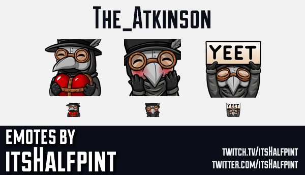 The_Atkinson  | Twitch Emotes | Cute Emotes | Custom Twitch Emotes | Emote Commissions | itsHalfpint