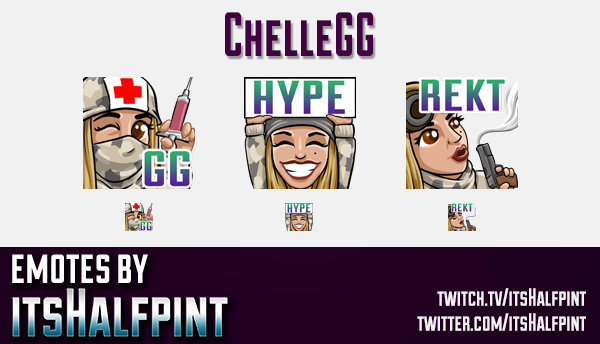 ChelleGG | Twitch Emotes | Cute Emotes | Custom Twitch Emotes | Emote Commissions | itsHalfpint | Mi