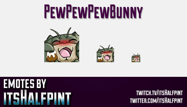 PewPewPewBunny | Twitch Emotes | Cute Emotes | Custom Twitch Emotes | Emote Commissions | itsHalfpin