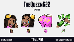 TheQueenG22 - twitch emotes cute sassy booty money rain laugh