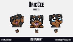 DricCee - twitch emotes cute dog rottweiler sad cry drool wave