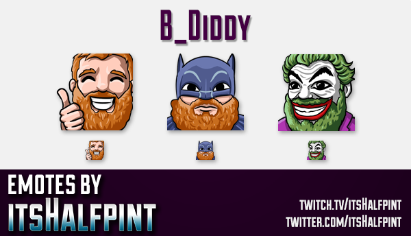 B_Diddy | Twitch Emotes | Cute Emotes | Custom Twitch Emotes | Emote Commissions | itsHalfpint | Mix
