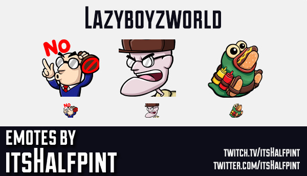 Lazyboyzworld  | Twitch Emotes | Cute Emotes | Custom Twitch Emotes | Emote Commissions | itsHalfpin