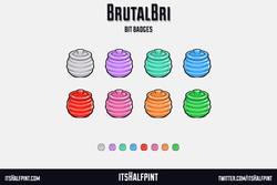 BrutalBri itsHalfpint   Twitch   Sub Badges   Twitch emotes   Emote artist   commission cute bit che