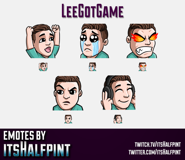 LeeGotGame  | Twitch Emotes | Cute Emotes | Custom Twitch Emotes | Emote Commissions | itsHalfpint |