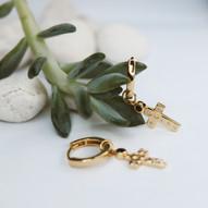 TERRA GOLD HAMMERED CROSS EARRINGS