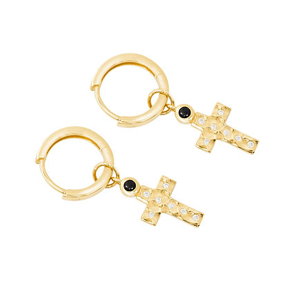 TERRA GOLD HAMMERED CROSS EARRINGS