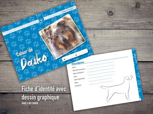 Cahier pour chien - Fiche identité avec dessin chien graphique