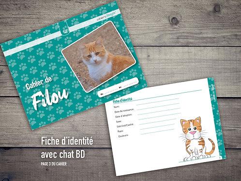Cahier pour chat - Fiche identité avec chat BD