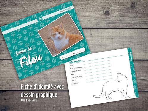 Cahier pour chat - Fiche identité avec chat graphique