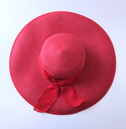 Large brimmed red hat