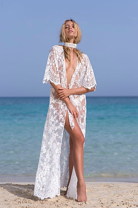Lace kaftan with tie-belt