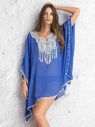 Chiffon kaftan with lace design