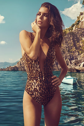 Leopard print swimsuit with belt