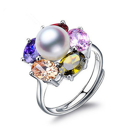 Colourful Flower Pearl Ring