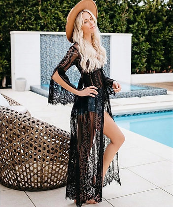 Lace kaftan with split sleeves