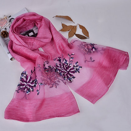 Silk scarf with floral embroidery -  Dark Pink