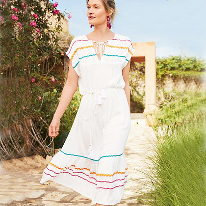 stripe midi kaftan with tie-belt