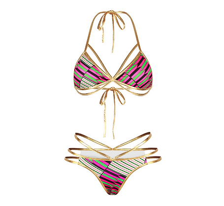 Pink tribal string bikini