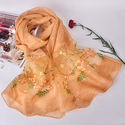 Silk scarf with embroidery - Orange