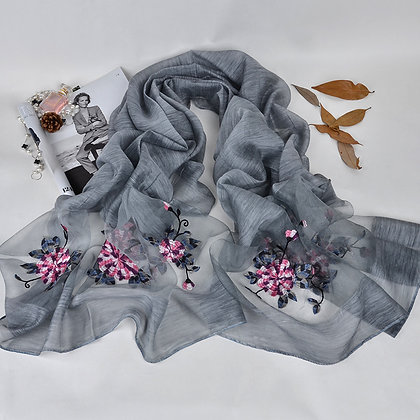 Silk scarf with floral embroidery - Cool Grey